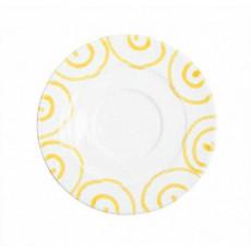 Gmundner Keramik Gelbgeflammt Kaffee-Untertasse Gourmet d: 16 cm