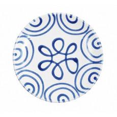 Gmundner Keramik Blaugeflammt Dessertteller / Frühstücksteller Cup d: 20 cm / h: 2,6 cm