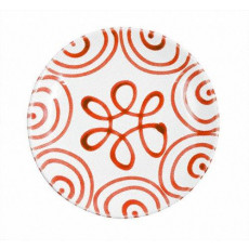 Gmundner Keramik Rotgeflammt Dessertteller / Frühstücksteller Cup d: 20 cm / h: 2,6 cm