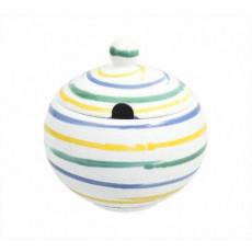 Gmundner Keramik Buntgeflammt Zuckerdose glatt mit Ausschnitt 10 cm