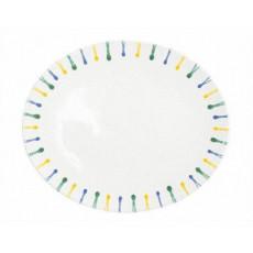 Gmundner Keramik Buntgeflammt Platte oval 33 cm