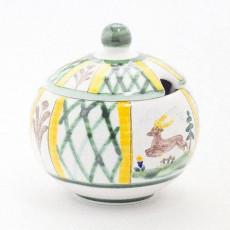 Gmundner Keramik Jagd Zuckerdose glatt mit Ausschnitt 10 cm