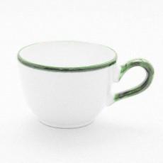 Gmundner Keramik Grüner Rand Kaffee Obertasse glatt 0,19 l