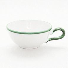 Gmundner Keramik Grüner Rand Tee Obertasse glatt 0,17 l