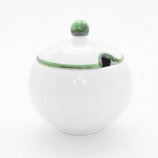 Gmundner Keramik Grüner Rand Zuckerdose glatt mit Ausschnitt 10 cm