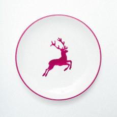 Gmundner Keramik Bordeauxroter Hirsch Dessertteller / Frühstücksteller Cup d: 20 cm / h: 2,6 cm