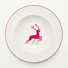 Gmundner Keramik Bordeauxroter Hirsch Suppenteller Gourmet d: 24 cm / h: 4 cm