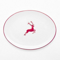 Gmundner Keramik Bordeauxroter Hirsch Platte oval 33x26x2,5 cm