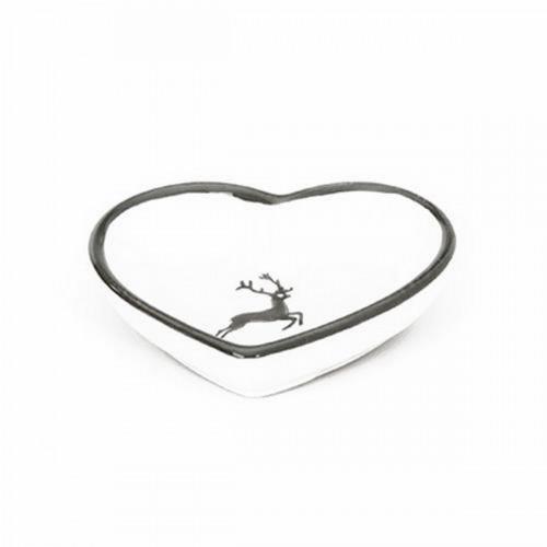 Gmundner Ceramics,'Grey Deer' Bowl in 'heart' form,10 cm