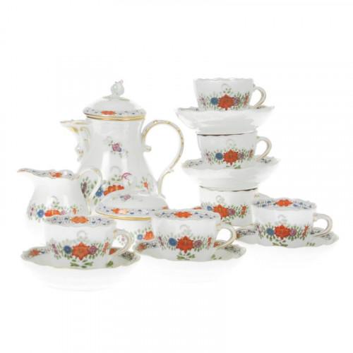 Meissen,'Neuer Ausschnitt - Indische Blumenmalerei zweiteilig bunt Kupferfarben mit Goldrand' Espresso set for 6 persons,15 pcs.