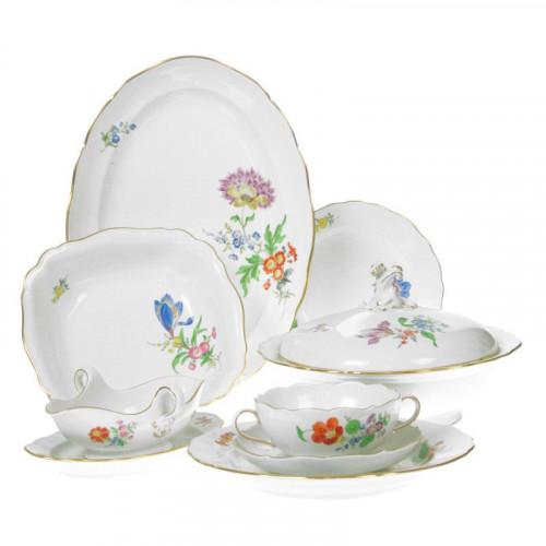 Meissen,'Neuer Ausschnitt - Blume 3 schräg bunt mit Goldrand' Tableware for 6 persons,28 pcs.
