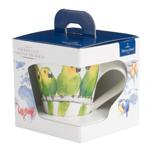 Villeroy & Boch,'New Wave Caffè Animals of the World - Braunwangensittich' Mug with handle gift-wrapped 0,35 l
