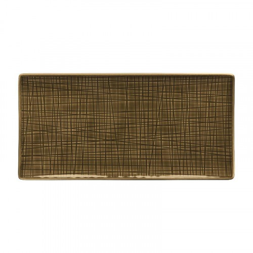 Rosenthal Selection,'Mesh Walnut' Platter / dish / stand footed small 26 x 13 cm