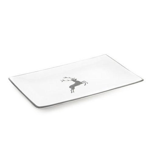Gmundner Ceramics,'Grey Deer' Platter rectangular 36x15 cm