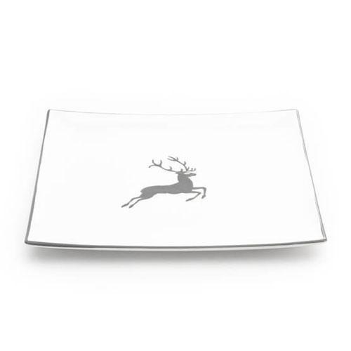 Gmundner Ceramics,'Grey Deer' Plate angular 31x31 cm