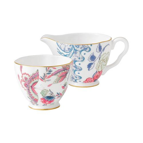 Wedgwood,'Butterfly Bloom' Sugar Bowl and Creamer h: 5 cm