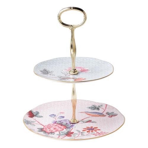 Wedgwood,'Harlequin Collection Cuckoo' Cake Stand Two Tier / Plates 16/24 cm