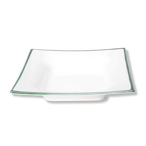Gmundner Keramik,'Grüner Rand' Soup dish/ plate 'Trend',cornered 20x20 cm