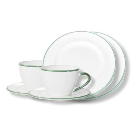 Gmundner Keramik,'Grüner Rand' Tableware set 'Breakfast for two' Gourmet