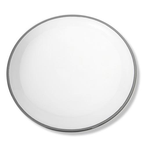 Gmundner Keramik,'Grauer Rand' Dining plate with no edge 'Classic' 28 cm