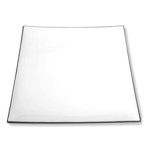 Gmundner Keramik,'Grauer Rand' Dining plate quadratic 'Trend' 26x26 cm