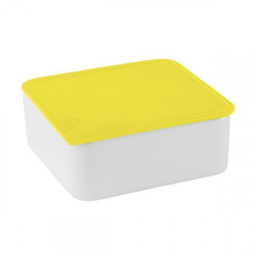 Arzberg,'Küchenfreunde / Form 2006 Frischedosen' Big square yellow bowl with a lid 18 x 18 cm / 0,9 L