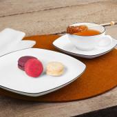 Seltmann Weiden Lido Black Line tea set square,large 18 pcs.