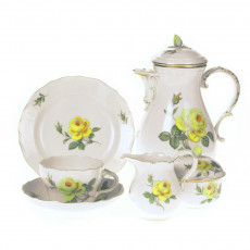 Meissen New neckline - Rose middle yellow with gold edge coffee service 6 people 21 pcs.