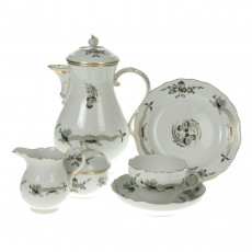 Meissen New neckline - Rich Dragon black gold shaded with gold edge coffee service 6 people 21 pcs.