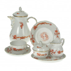 Meissen New neckline - Rich dragon red gold shaded with gold edge coffee service 6 people 22 pcs.