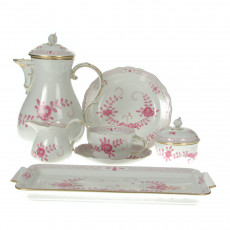 Meissen New detail - Indian painting 2 with edge purple gold dots with gold edge coffee service 6 people 22 pcs.
