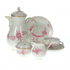 Meissen New detail - Indian painting 2 with edge purple gold dots with gold edge coffee service 6 people 21 pcs.