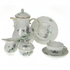 Meissen Neuer Ausschnitt - Indian rock,flower and bird painting 125 colorful with gold rim coffee service 6 people 21 pcs.