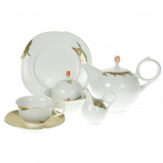Meissen Wellenspiel - holly colorful and gold with gold rim tea service 6 people 21 pcs.