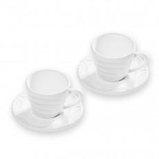 Gmundner Ceramic White Flamed Espresso Gourmet for 2 Persons Set 4 pcs.
