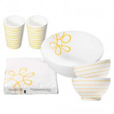 Gmundner Ceramics Pure Flamed Yellow Starter Set Salad 6 pcs.