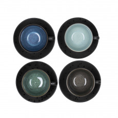 Bitz Gastro black / dark cup 0,22 L with saucer 10 cm set 4 pcs.