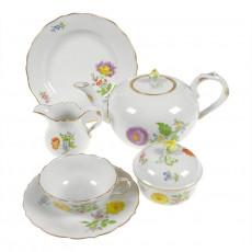 Meissen,'Neuer Ausschnitt - Blume 2 schräg bunt mit Goldrand' Tea 6 person set 21-piece