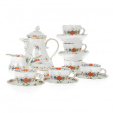 Meissen 'New Neckline - Indian Flower Painting two-piece colorful copper colors with gold rim' Espresso Service 6 people 15 pcs.