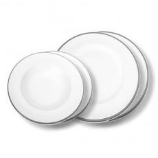 Gmundner Keramik,'Grauer Rand' Tableware set 'Breakfast for two' Gourmet