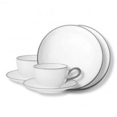 Gmundner Keramik,'Grauer Rand' Tableware set 'Breakfast for two'