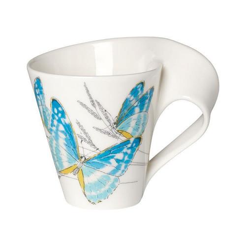 Villeroy & Boch,'New Wave Caffè Animals of the World - Morpho Cypris' Кружка с ручкой большая в подарочной упаковке,0.30 л