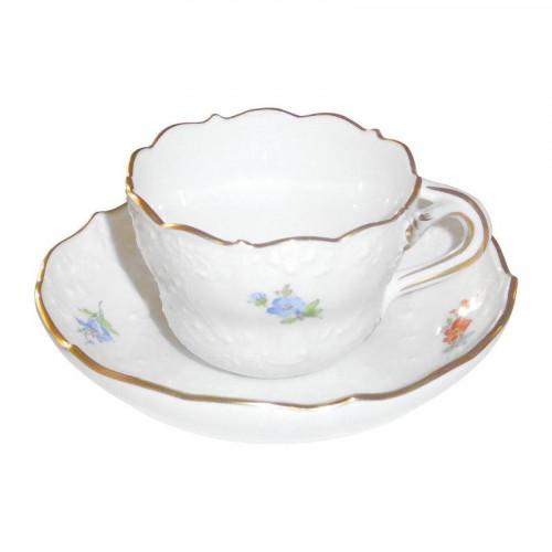 Meissen,'Neuer Ausschnitt - Gestreute Blümchen mit Goldrand' Чашка для мокка / эспрессо,набор 2 предм.