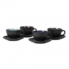 Bitz Gastro black / dark Tasse 0,22 L mit Untertasse 10 cm Set 4-tlg.