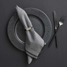 Organic by Bitz & Södahl grey / black Serviette Set 2-tlg. 50x50 cm