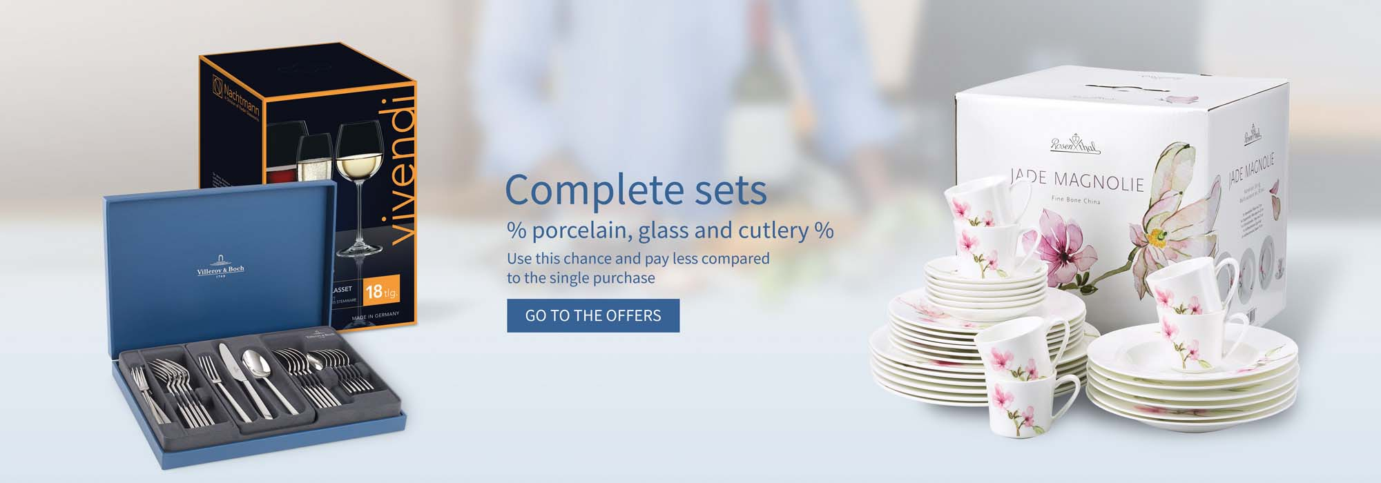 Complete sets of porcelain, glass and cutlery
